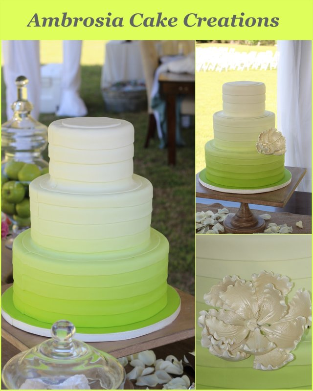 Apple Green Ombre Wedding Cake