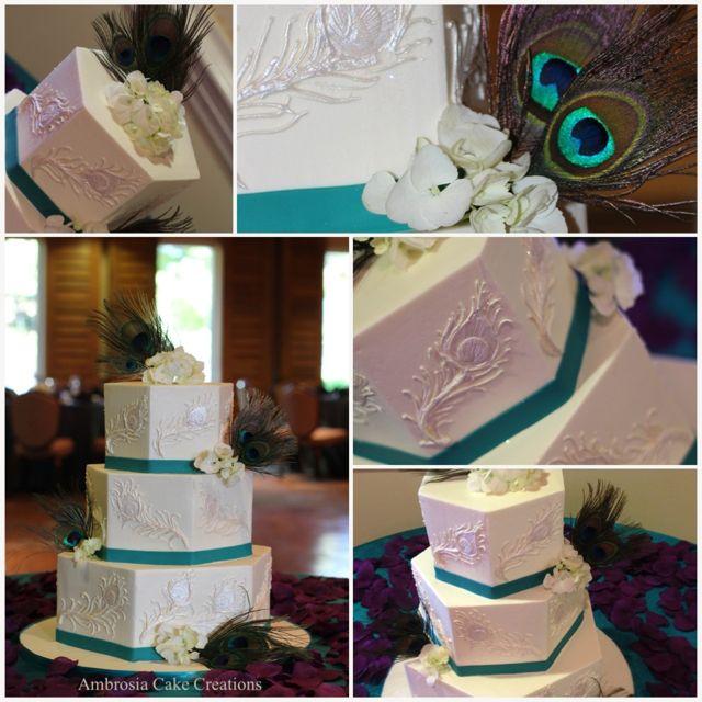 Peacock Feather Wedding Cake: Pearl Peacock Feather Wedding Cake