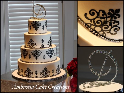 Cake Decorating Classes Raleigh Nc : Damask Wedding Cake - Ambrosia Cake Creations