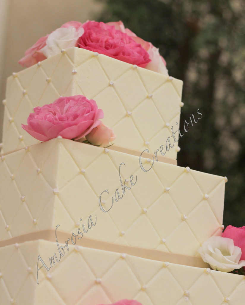 Quilted buttercream Iced wedding cake - Ambrosia Cake Creations