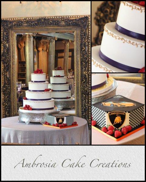 Wedding Cake with Lamborghini Grooms Cake