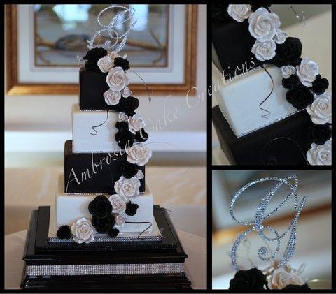 Black and white wedding cake ambrosia cake creations black and white wedding cake junglespirit Image collections