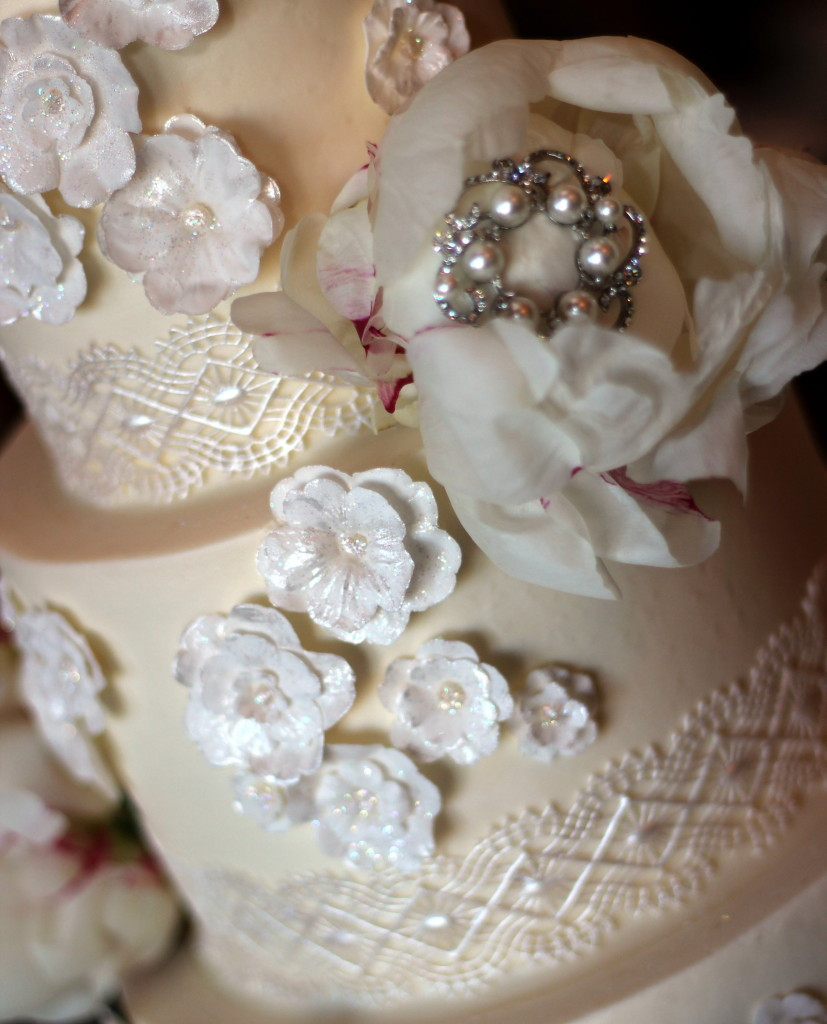 Intricate edible lace wedding cake