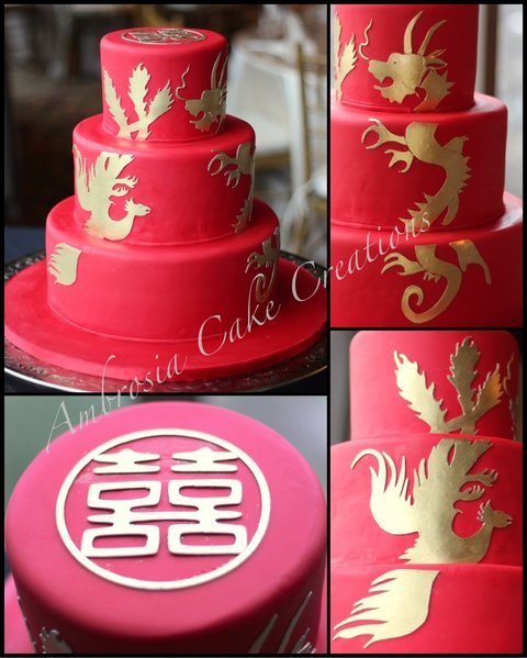 Double happiness with dragon and phoenix wedding cake