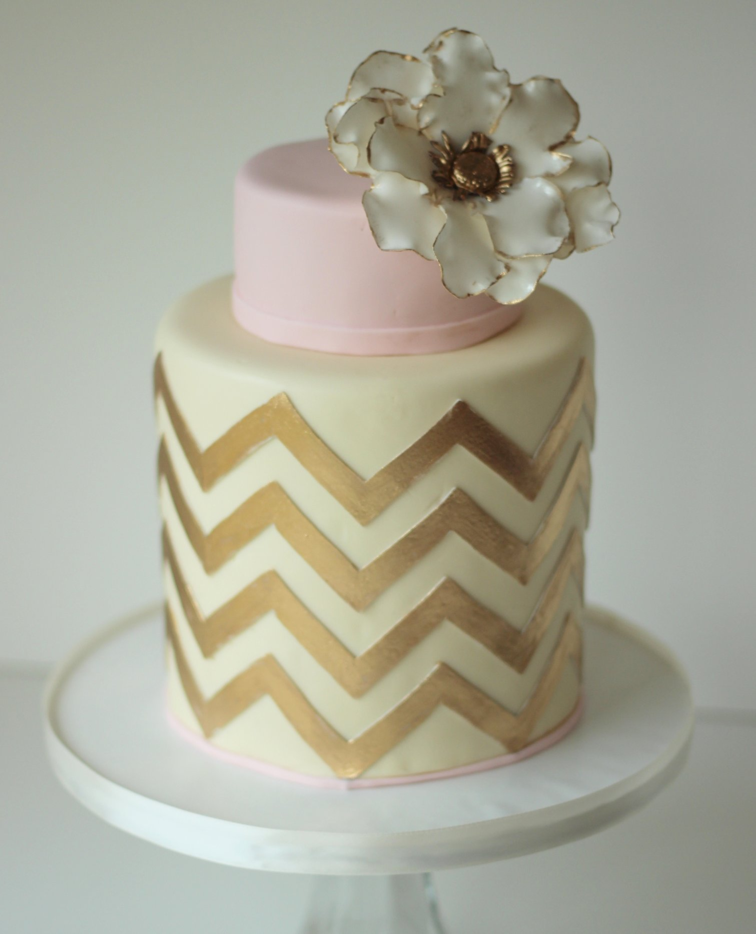 Gold Chevron Wedding Cake
